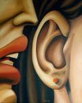 """Alice Hilsum """"De bouche à oreille"""" peinture à l'huile sur toile"""